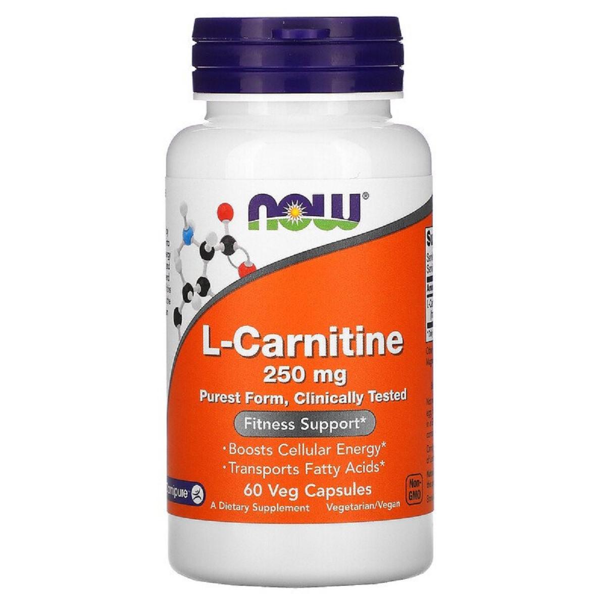 L- Карнитин, L-Carnitine, Now Foods, 250 мг, 60 вегетарианских капсул