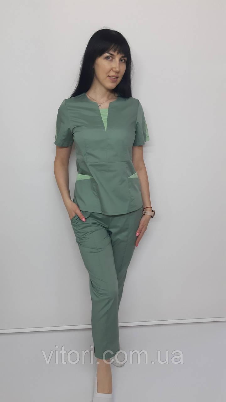 Костюм жіночий медичний Оскар бавовна укорочені брюки