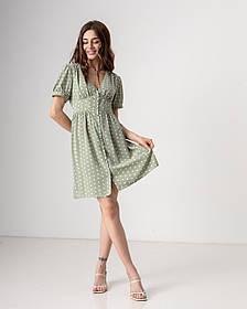 Летнее короткое платье в горошек с V-вырезом и на пуговицах в 3 цветах в универсальном размере