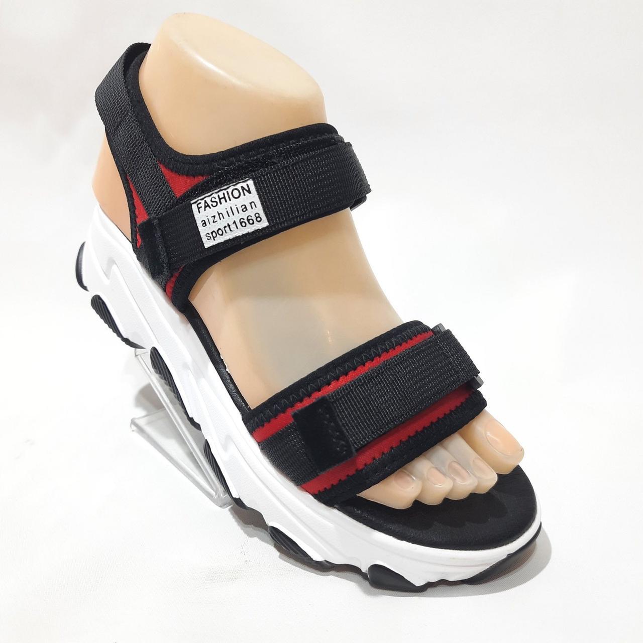 Босоніжки жіночі, сандалі з текстилю на низькому ходу на липучках Чорні