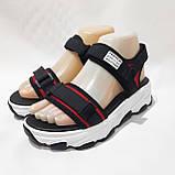 Босоніжки жіночі, сандалі з текстилю на низькому ходу на липучках Чорні, фото 4