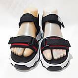 Босоніжки жіночі, сандалі з текстилю на низькому ходу на липучках Чорні, фото 2