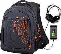 Рюкзак ортопедический школьный подростковый с переходником для наушников и USB черно-оранжевый Winner One 418