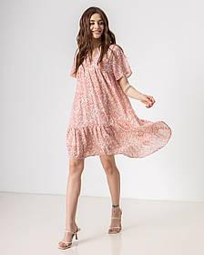Воздушное летнее короткое платье в цветочный принт с V-вырезом в 3 цветах в размерах S/M, M/L