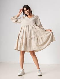 Летнее  платье в клетку с V-вырезом свободного кроя длиною по колено в 3 цветах в размере S, M, L.