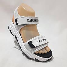 Босоножки женские, сандали натуральная кожа с текстилем открытые на плоской подошве Белые