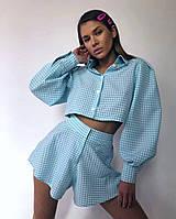 Женский коттоновый костюм в клетку с шортами и укороченной рубашкой, фото 1
