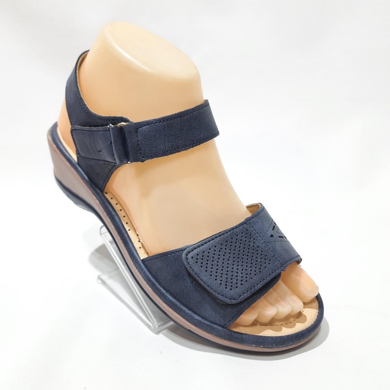 Босоножки женские, сандали из экокожи на танкетке ортопедическая стелька на липучках Темно-синие