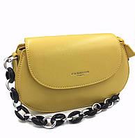 Напівкругла жіноча сумка жовта Арт.CD-58-085 yellow Johnny (Китай)