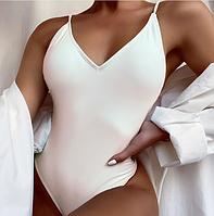 Купальник однотонный слитный бикини белый