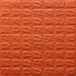 Декоративная 3D панель самоклейка под кирпич Оранжевый 700x770x7мм