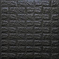 Декоративная 3D панель самоклейка под кирпич Черный 700x770x7мм