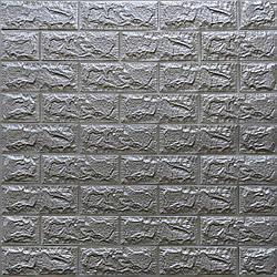 Декоративна 3D панель самоклейка під цеглу Срібло 700х770х7мм