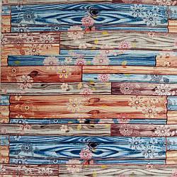 Самоклеюча декоративна 3D панель бамбук квіти 700x700x8.5мм