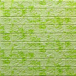 Декоративна 3D панель самоклейка під цеглу Зелений мармур 700х770х5мм
