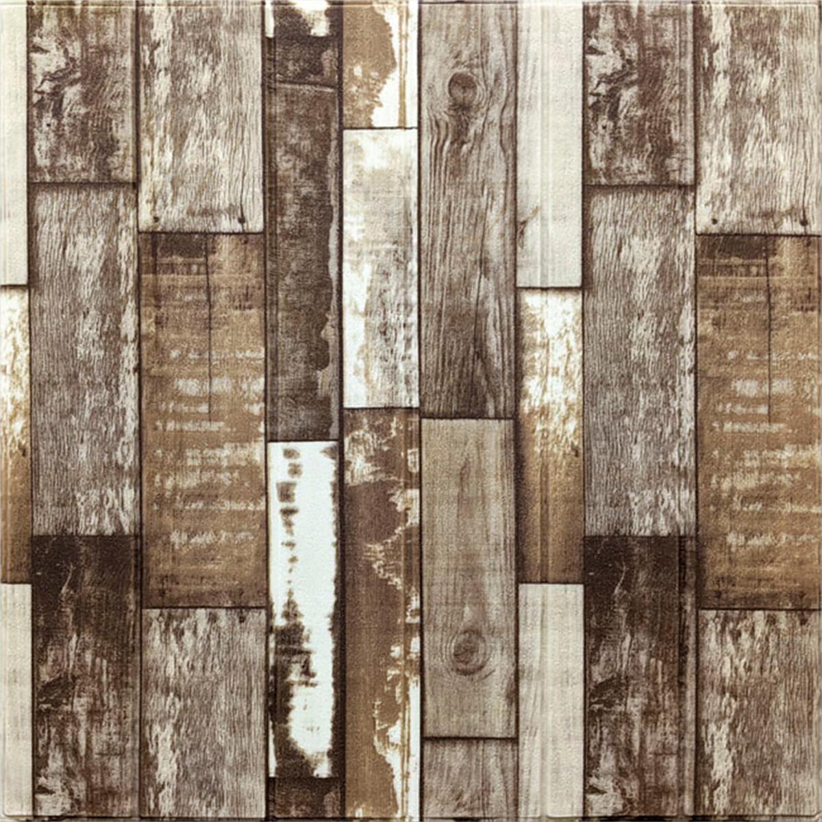 Самоклеюча декоративна 3D панель коричневе дерево 700х770х5мм