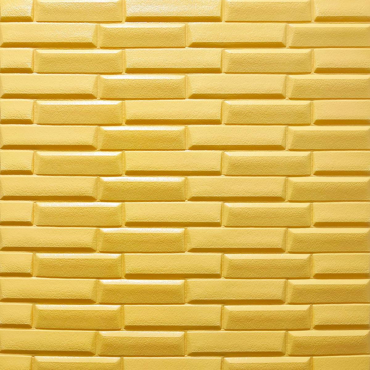 Самоклеюча декоративна 3D панель жовто-пісочна кладка 700х770х7мм