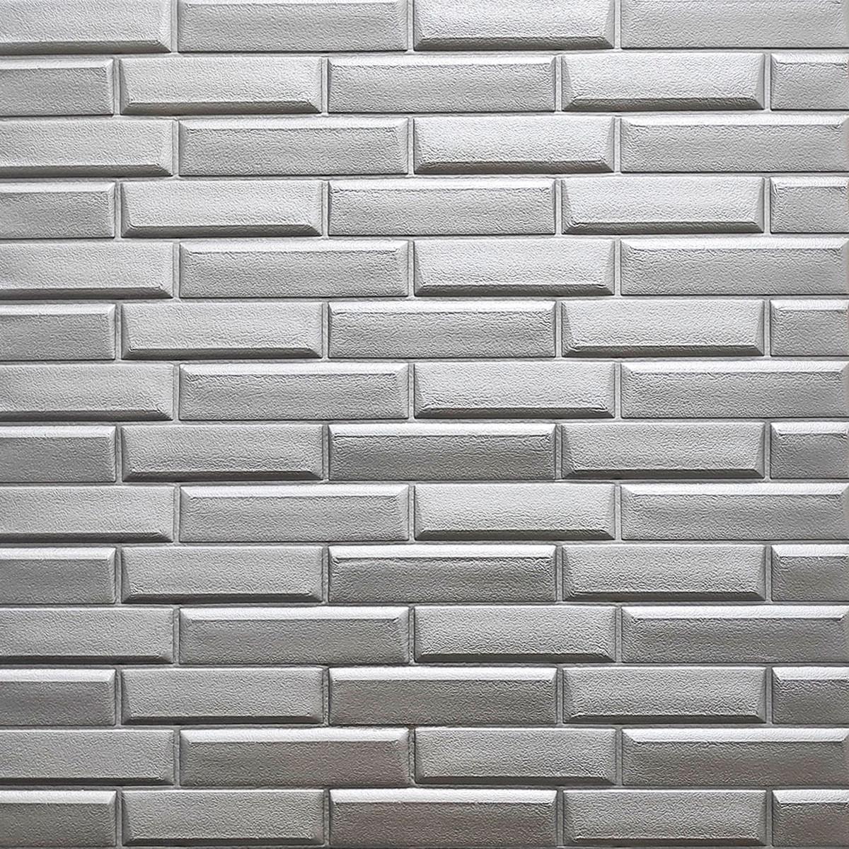 Самоклеющаяся декоративная 3D панель кладка серебро 770х700х7 мм