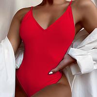 Купальник однотонный слитный бикини красный