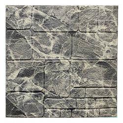Самоклеюча декоративна 3D панель камінь чорно-білий мармур 700х700х7мм