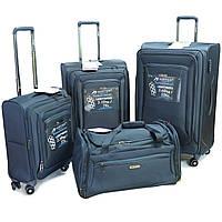 Комплект 3-х чемоданов и сумки  Airtex 838  на 4 колесах, синий, фото 1