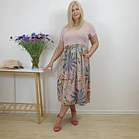 Пудровое женское платье с растительным узором из натурального льна