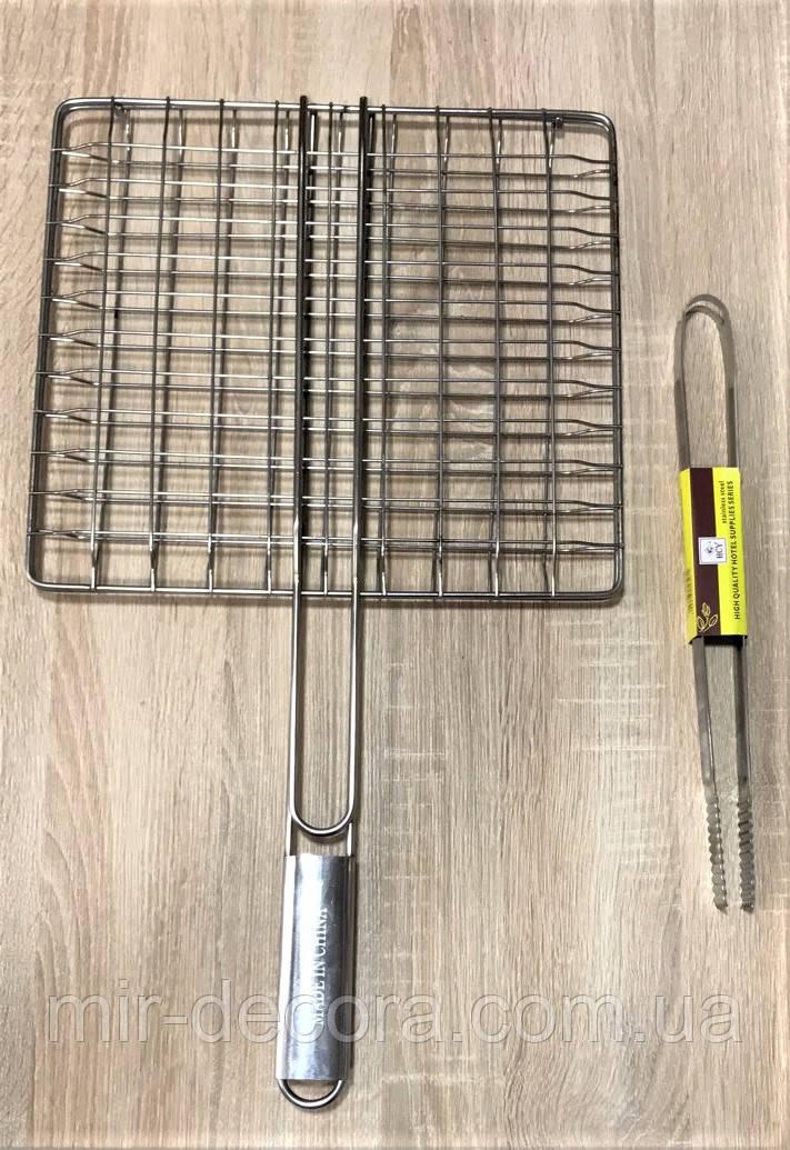 Решетка для гриля с ручкой и щипцами для мяса
