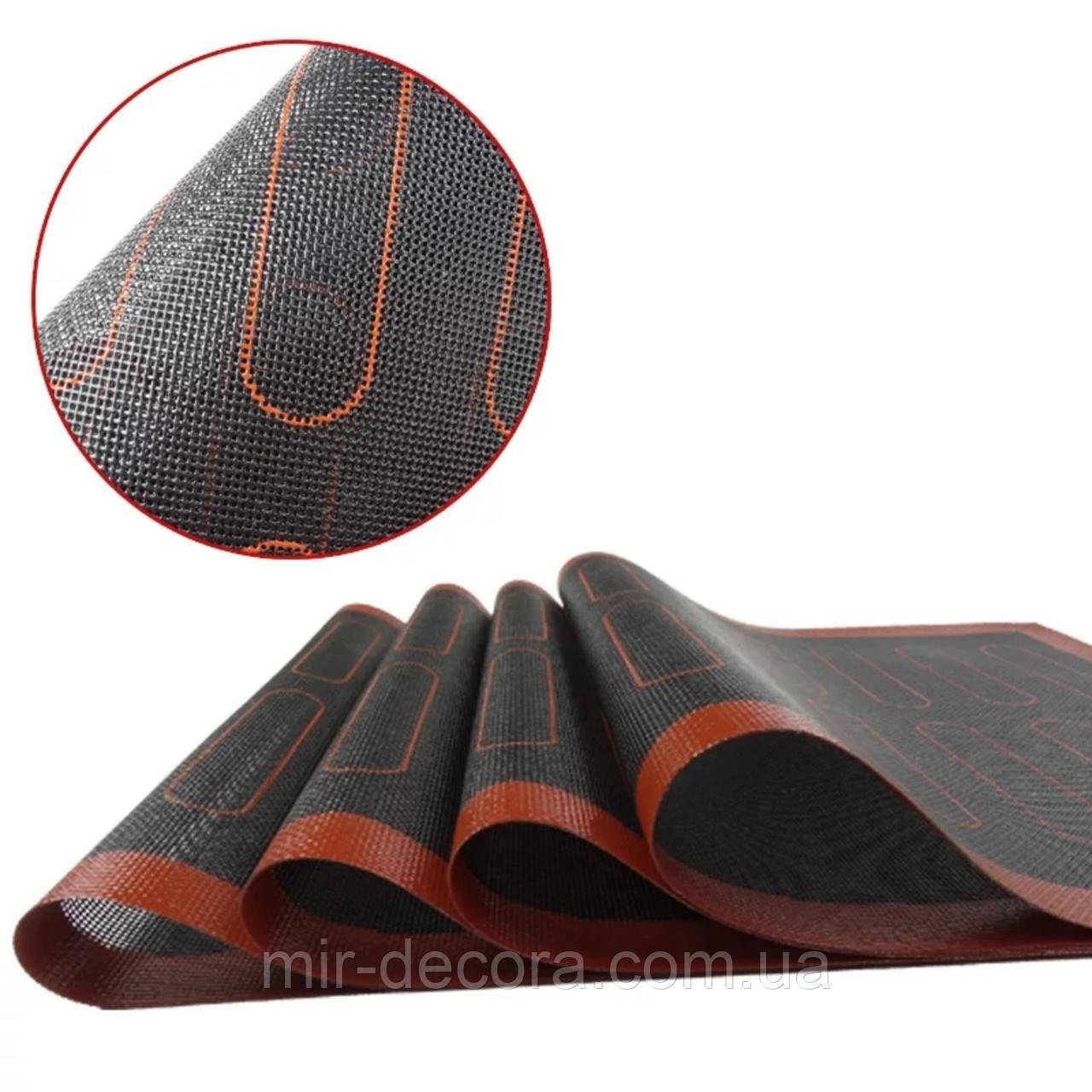 Силіконовий килимок перфорований для випічки чорний з розмітками для еклерів 30х40 см