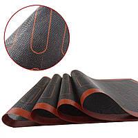 Силіконовий килимок перфорований для випічки чорний з розмітками для еклерів 30х40 см, фото 1