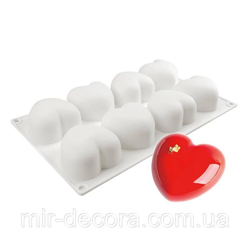 Форма силіконова для евродесертов Серце з 8 шт