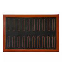 Черный перфорированный силиконовый коврик для выпечки эклеров 40*60 см, фото 1