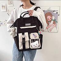 """Милый подростковый молодёжный рюкзак сумка с брелками """"Мишки"""" в стиле Преппи"""
