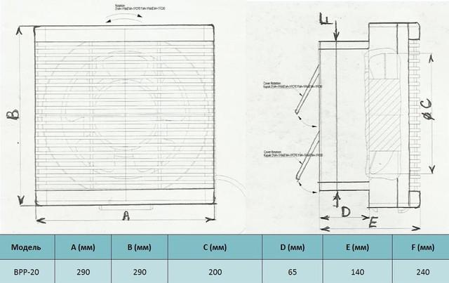 Габариты бытового реверсивного вентилятора bahcivan bpp 20 купить в украине