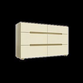 Комод Інтарсіо Fusion F 6Ш 1420х840 мм Дуб скельний + Слонова кістка КОД: FUSION_F