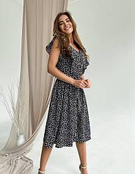 Женское черное летнее платье миди с цветочным принтом