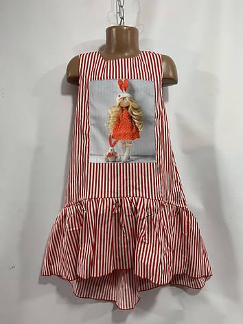 Лёгкое платье для девочки в полоску с принтом р.6-10 лет, фото 2