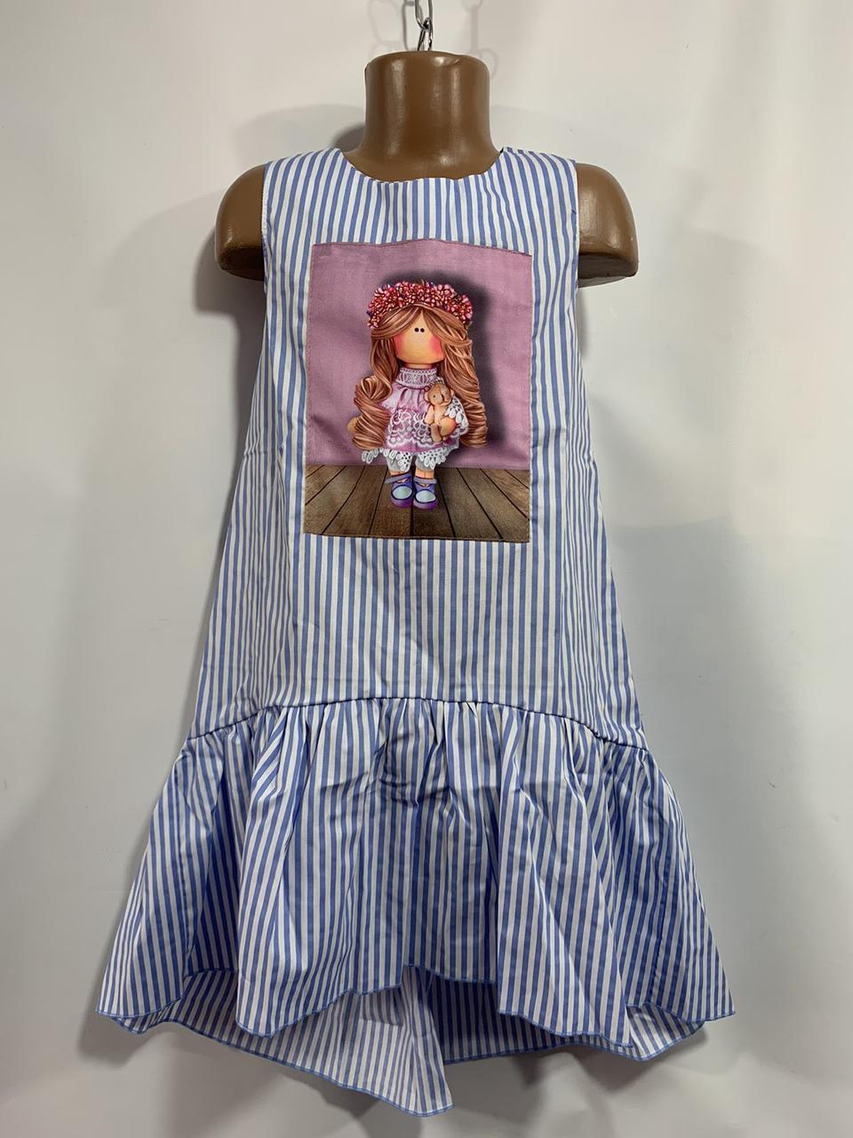 Лёгкое платье для девочки в полоску с принтом р.6-10 лет