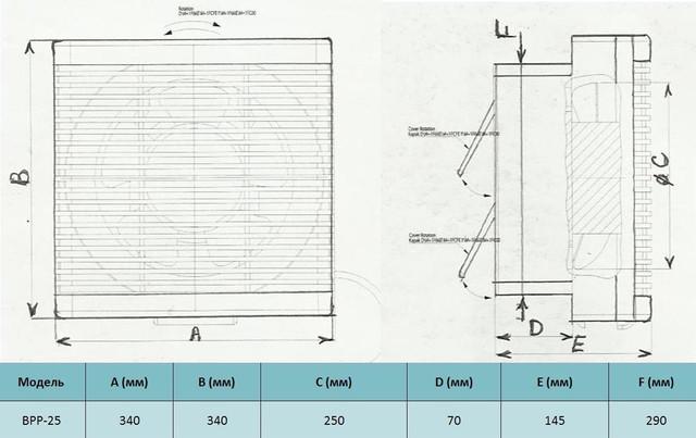 Габариты бытового реверсивного вентилятора bahcivan bpp 25 купить в украине