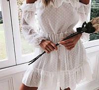 """Нежное воздушное женское белое платье с открытыми плечами """"Melanie"""" S (42-44),M (44-46)"""