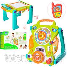 Каталка-ходунки-толкатель, обучающие англ. язык, доска для рисования, музыка, звук, свет. Игровой центр 2107