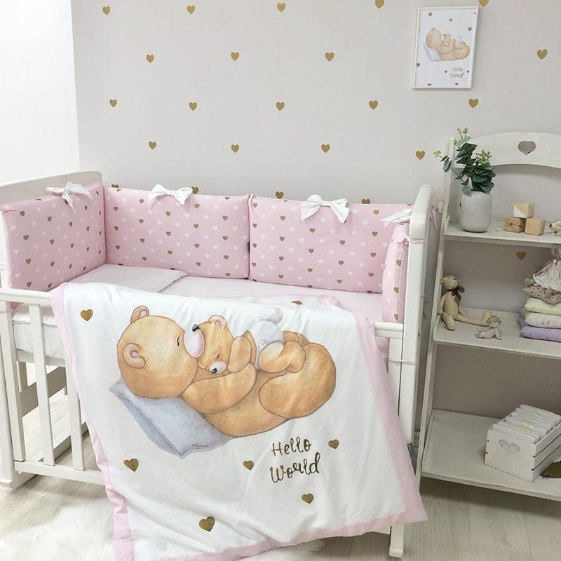 Постельный комплект детского белья для новорожденны Happy Baby девочка (6 пр)