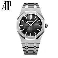 Годинник Audemars Piguet Royal Oak 41mm (Механіка ETA) Silver/Black. Репліка: AAA, фото 1