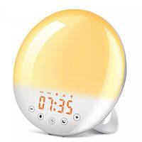 Умный смарт будильник с имитацией рассвета и заката с Wi-Fi и FM-радио