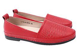 Туфли женские летние на низком ходу из натуральной кожи, красные Li Fexpert