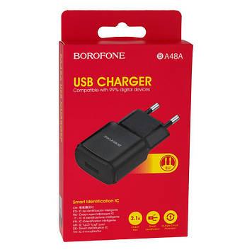 Сетевая зарядка Borofone BA48A 2.1A адаптер 1 USB Белый