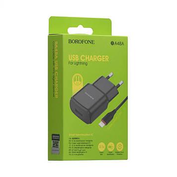 Сетевая зарядка Borofone BA48A 2.1A адаптер 1 USB + кабель Lightning Белый