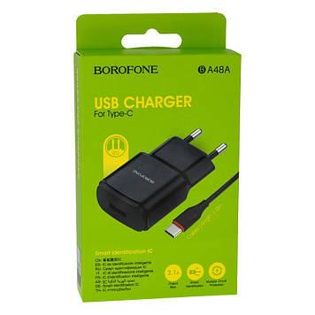 Сетевая зарядка Borofone BA48A 2.1A адаптер 1 USB + кабель Type C Белый