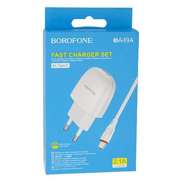 Сетевая зарядка Borofone BA49A 2.1A адаптер 1 USB + кабель Type C Черный