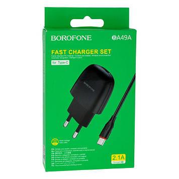 Сетевая зарядка Borofone BA49A 2.1A адаптер 1 USB + кабель Type C Белый