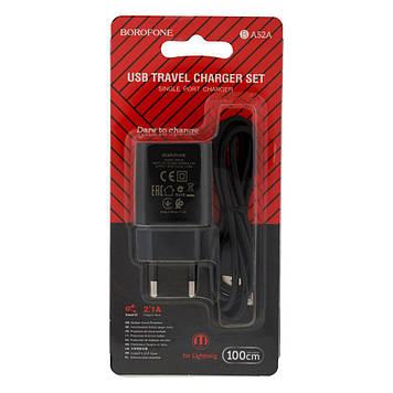 Сетевая зарядка Borofone BA52A 2.1A адаптер 1 USB + кабель Lightning Белый